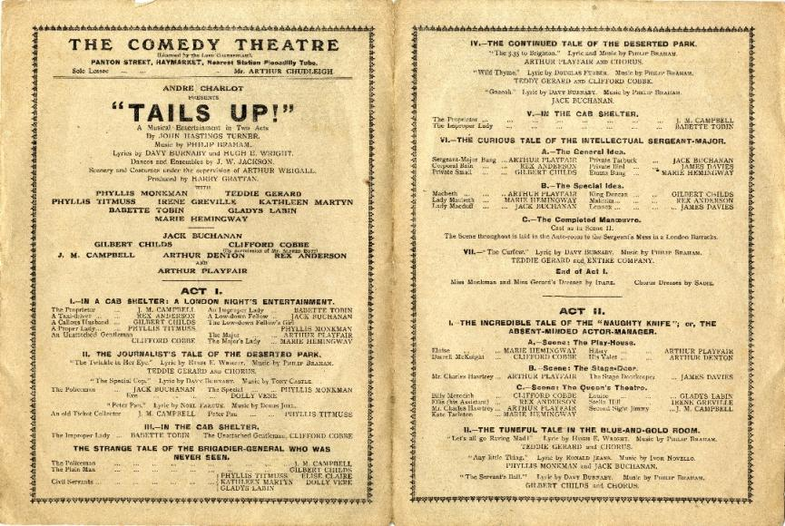 Inside of a 1918 playbill for The Comedy Theatre ...